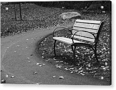 Bench On The Walk Acrylic Print