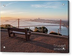 Bench Overlooking Downtown San Francisco And The Golden Gate Bri Acrylic Print