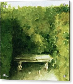 Bench Parc De Bagatelle Paris Acrylic Print by Beverly Brown