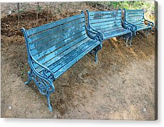 Acrylic Print featuring the photograph Benches And Blues by Prakash Ghai