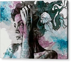 Beneath Broken Earth - Street Art Drawing, Woman With Leaves And Tattoos Acrylic Print