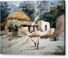 Acrylic Print featuring the painting Bengal Village by Samiran Sarkar