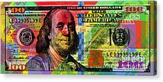 Benjamin Franklin $100 Bill - Full Size Acrylic Print