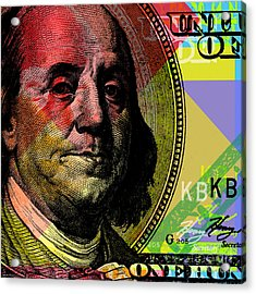 Benjamin Franklin - $100 Bill Acrylic Print by Jean luc Comperat