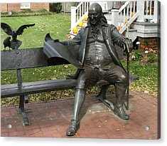 Benjamin Franklin In Our Town Acrylic Print by Anne-Elizabeth Whiteway
