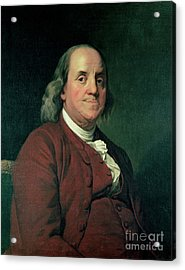 Benjamin Franklin Acrylic Print by Joseph Wright of Derby