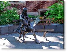 Benjamin Franklin On A Park Bench Acrylic Print