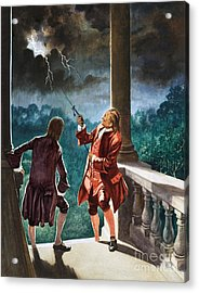 Benjamin Franklin Proves That Lightning Is Electricity Acrylic Print by Peter Jackson