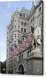 Benjamin Franklin Statue In Front Of The Old Post Office - Washington Dc Acrylic Print by Brendan Reals