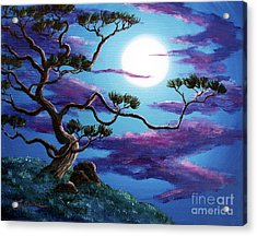 Bent Pine Tree At Moonrise Acrylic Print by Laura Iverson