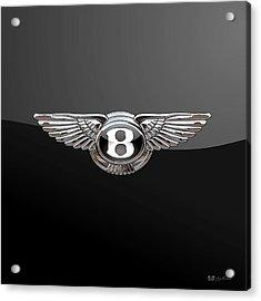 Bentley - 3d Badge On Black Acrylic Print by Serge Averbukh