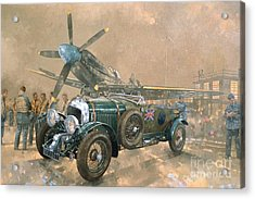 Bentley And Spitfire Acrylic Print by Peter Miller