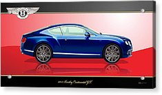 Bentley Continental Gt With 3d Badge Acrylic Print by Serge Averbukh