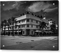 Bentley Hotel South Beach 001 Bw Acrylic Print by Lance Vaughn