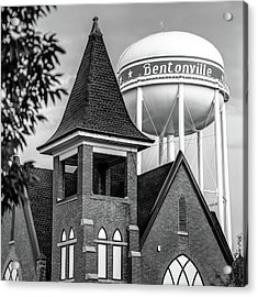 Acrylic Print featuring the photograph Bentonville Arkansas Cityscape Church Water Tower - Black And White by Gregory Ballos