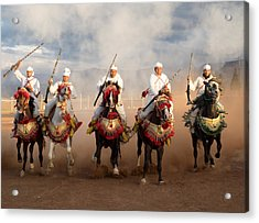 Berber Horseman Pulling Up After Firing Acrylic Print by Panoramic Images