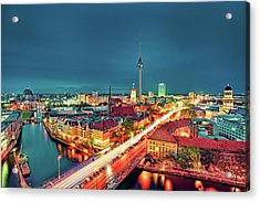 Berlin City At Night Acrylic Print by Matthias Haker Photography