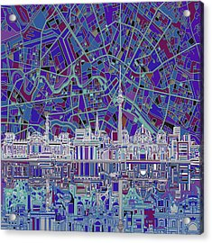 Berlin City Skyline Abstract 3 Acrylic Print by Bekim Art