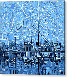 Berlin City Skyline Abstract Blue Acrylic Print by Bekim Art
