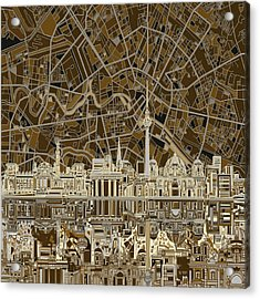 Berlin City Skyline Abstract Brown Acrylic Print by Bekim Art
