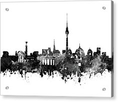 Berlin City Skyline Black And White Acrylic Print by Bekim Art