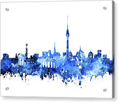 Berlin City Skyline Blue Acrylic Print by Bekim Art