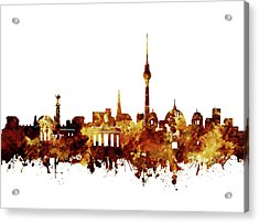 Berlin City Skyline Brown Acrylic Print by Bekim Art