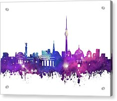 Berlin City Skyline Galaxy Acrylic Print by Bekim Art
