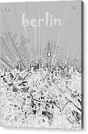 Berlin City Skyline Map 2 Acrylic Print by Bekim Art