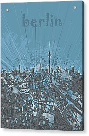 Berlin City Skyline Map 3 Acrylic Print by Bekim Art