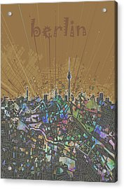 Berlin City Skyline Map 4 Acrylic Print by Bekim Art