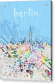 Berlin City Skyline Map Acrylic Print by Bekim Art