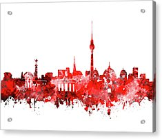 Berlin City Skyline Red Acrylic Print by Bekim Art