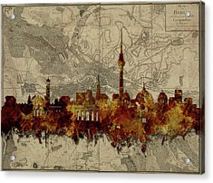 Berlin City Skyline Vintage Acrylic Print by Bekim Art