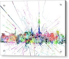 Berlin City Skyline Watercolor 2 Acrylic Print by Bekim Art