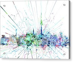 Berlin City Skyline Watercolor 3 Acrylic Print by Bekim Art