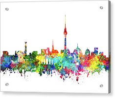 Berlin City Skyline Watercolor Acrylic Print by Bekim Art