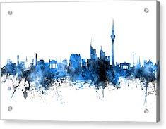 Berlin Germany Skyline Blue Signed Acrylic Print