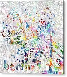 Berlin Map White Acrylic Print by Bekim Art