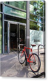 Berlin Street View With Red Bike Acrylic Print by Ben and Raisa Gertsberg