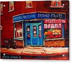Bernard Fruit And Broomstore Acrylic Print by Carole Spandau