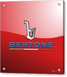 Bertone 3 D Badge On Red Acrylic Print by Serge Averbukh