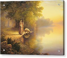 Beside Still Waters Acrylic Print by Greg Olsen