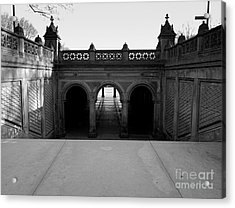 Bethesda Terrace In Central Park - Bw Acrylic Print