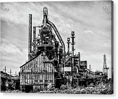 Bethlehem Pa Steel Plant  Side View In Black And White Acrylic Print by Bill Cannon