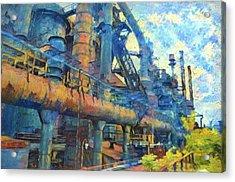 Bethlehem Steel Mill Watercolor Acrylic Print by Bill Cannon