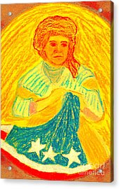 Acrylic Print featuring the painting Betsy Ross Flag Myth Or Reality by Richard W Linford