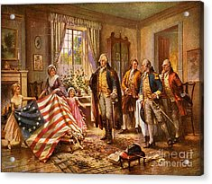 Betsy Ross Showing Flag To George Washington. Acrylic Print by Pg Reproductions