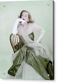 Bette Davis In Green Acrylic Print by Erwin Blumenfeld