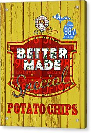Better Made Potato Chips Michigan License Plate Art Acrylic Print
